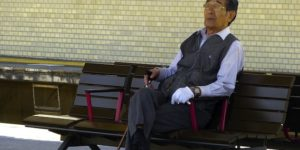 Thinking Japanese Grandpa Old Man Bench Sitting